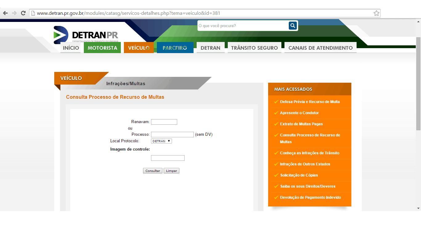 consulta de recurso no Detran PR