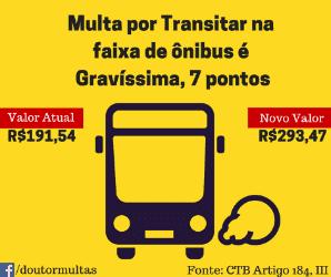 transitar em faixa de ônibus vai aumentar