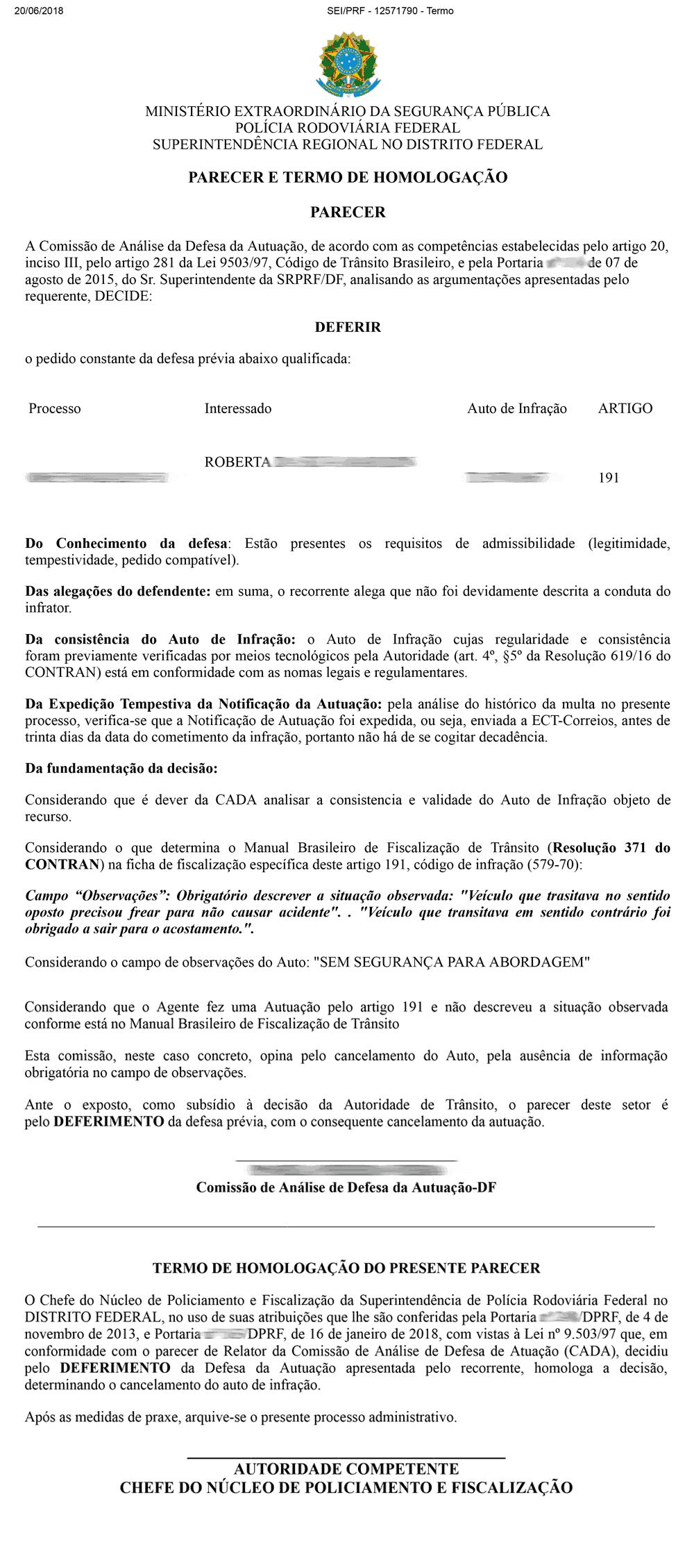 notificacao de penalidade recurso deferido