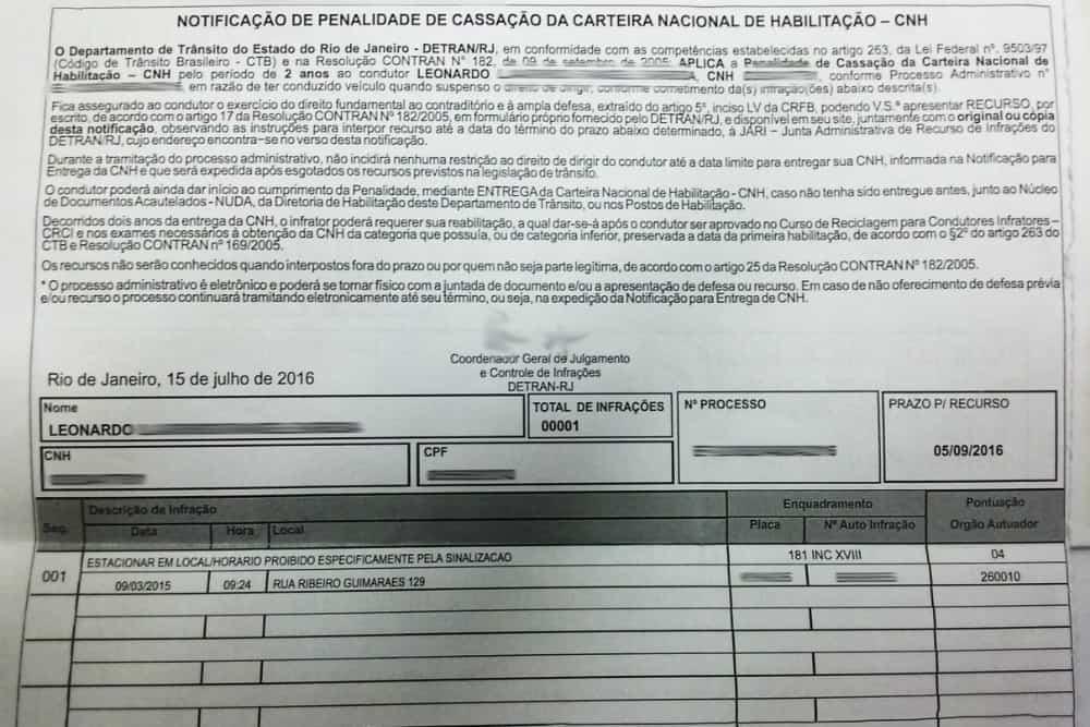Veja a notificação de penalidade enviada para Leonardo